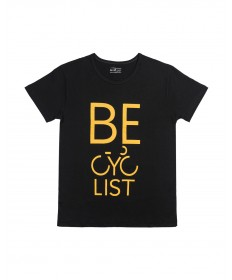 T-shirt Becyclist man, black with yellow text