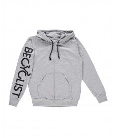 Hooded Zip-Front Sweatshirt Gray
