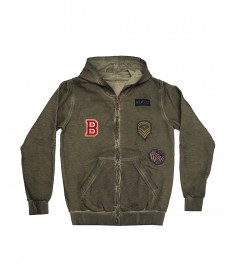 Hooded Zip-Front Sweatshirt Patches
