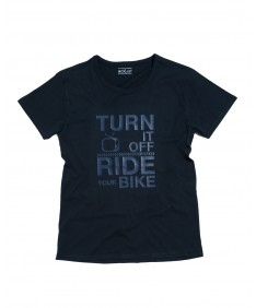 T-shirt men Turn it off ride your Bike Blu navy