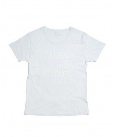T-shirt men Turn it off ride your Bike White
