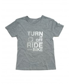 T-shirt men Turn it off ride your Bike gray