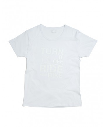 T-shirt Uomo Turn it off ride your Bike Bianca